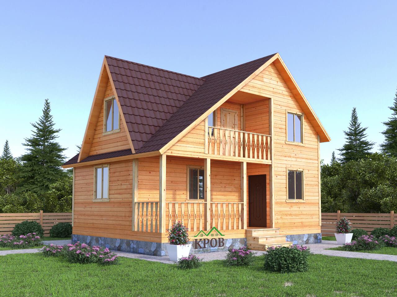 Проект дома 6 на 8 с террасой, балконом и кукушкой