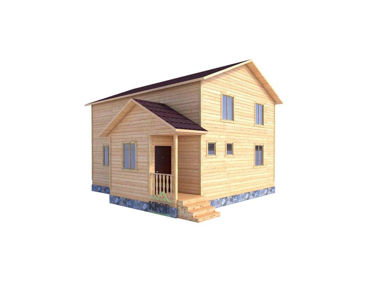 Двухэтажный дом 9 на 7 с тамбуром и крыльцом