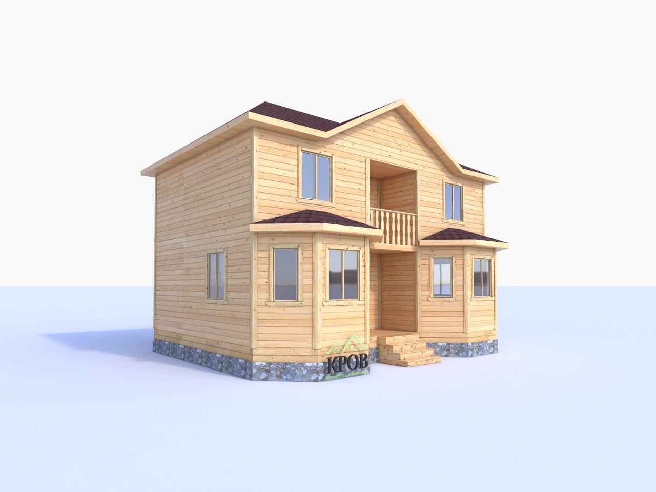 Двухэтажный дом 9 на 7 с эркером и балконом