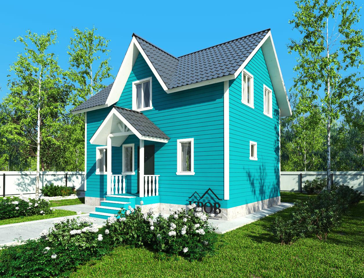 Полутораэтажный каркасный дом 6х8