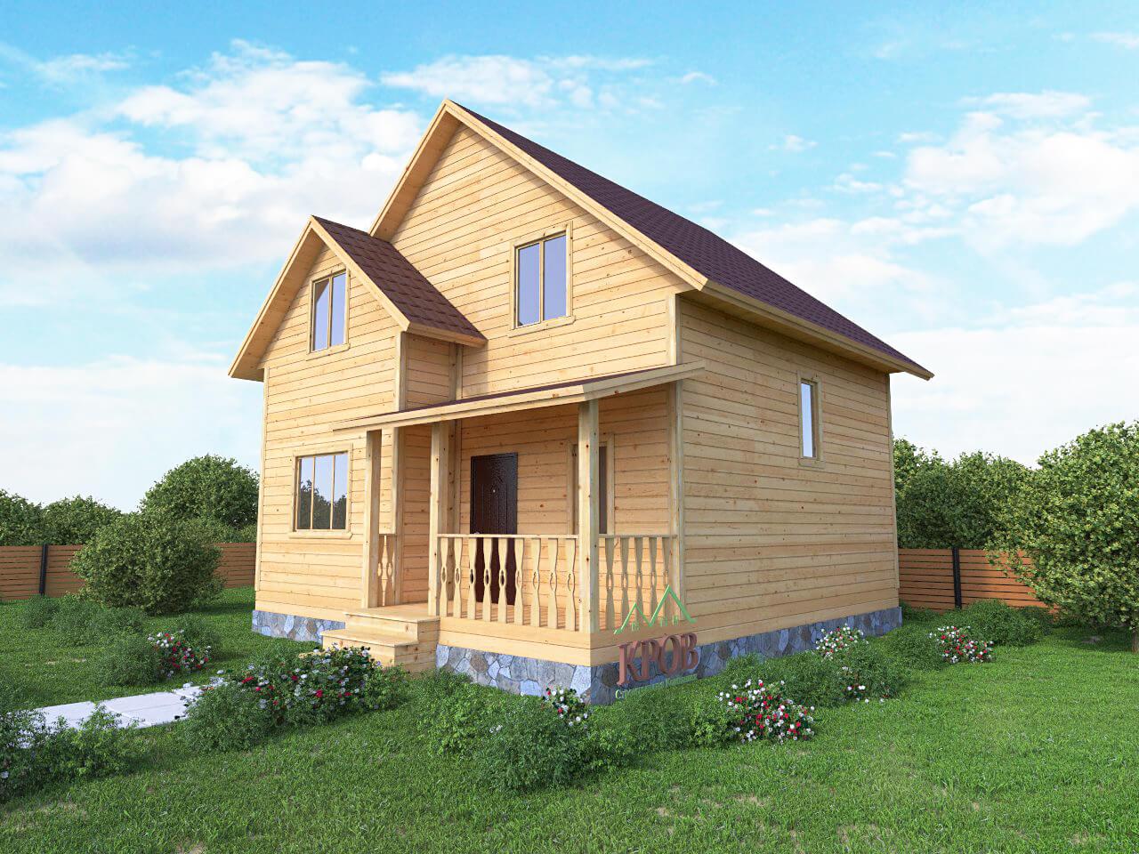 Полутораэтажный дом 8,5 на 7,5 с крыльцом и эркером
