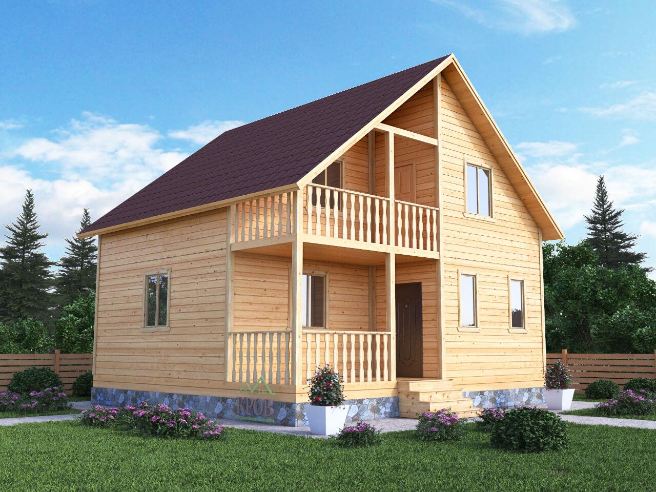 Проект каркасного дома 7,5 на 8 с террасой и балконом