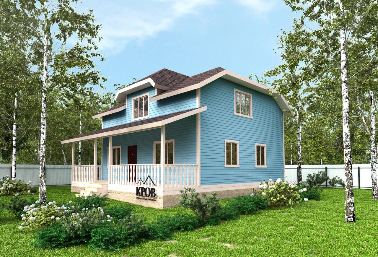 Полутораэтажный дом 8х9 с большой террасой 2м