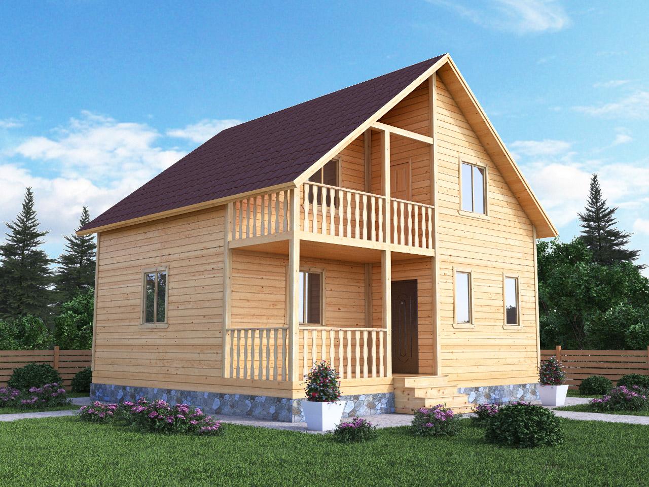 Полутораэтажный дом из бруса 8 на 7,5 с террасой, балконом и кукушкой