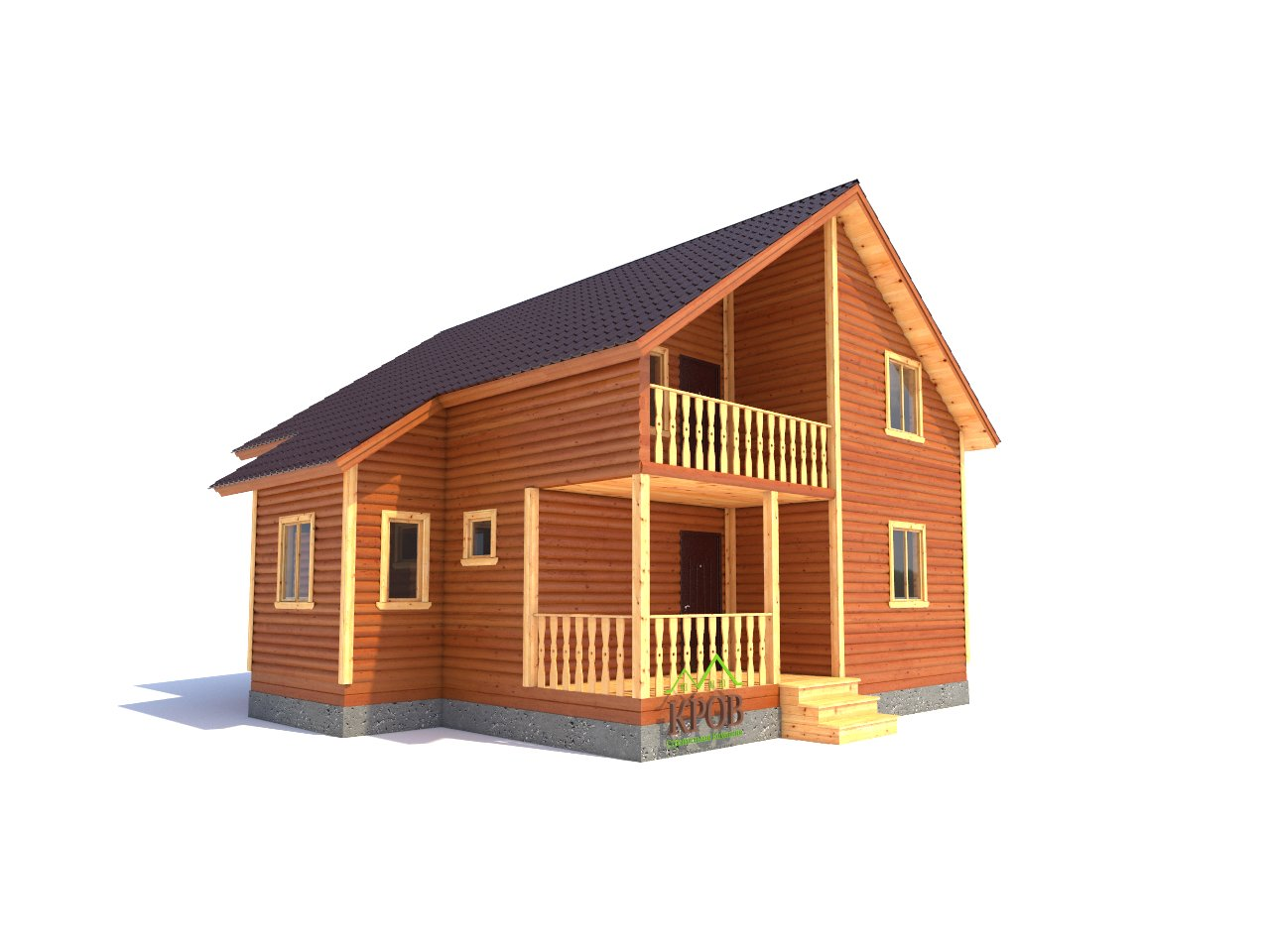 Полутораэтажный дом из бруса 10х9,5 м