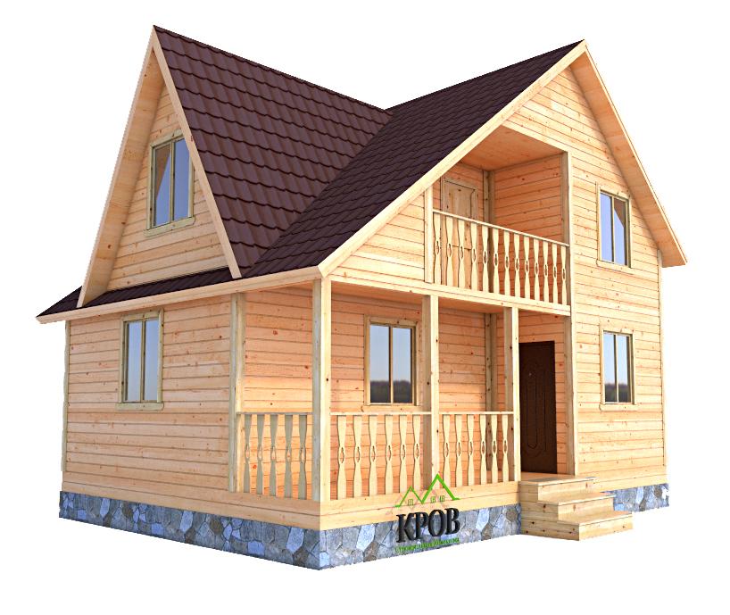 Дом из бруса 8 на 6 с террасой, балконом и кукушкой