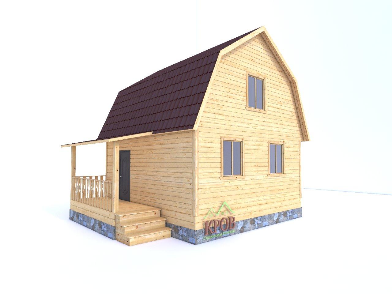Дом из бруса с мансардным этажом 7,5 на 6 с крыльцом