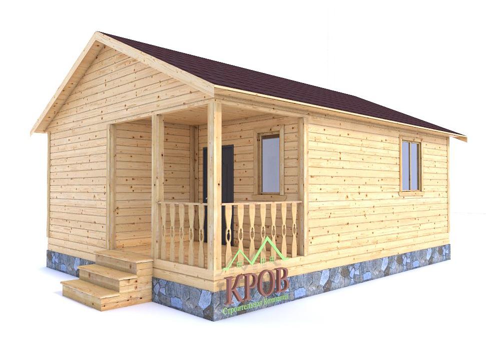 Одноэтажный дом из бруса 8 на 6 с крыльцом