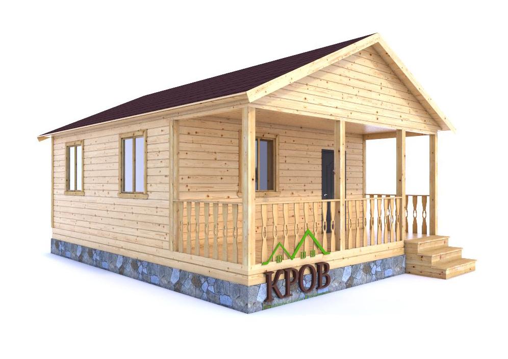 Одноэтажный дача из бруса 6 на 8 с террасой