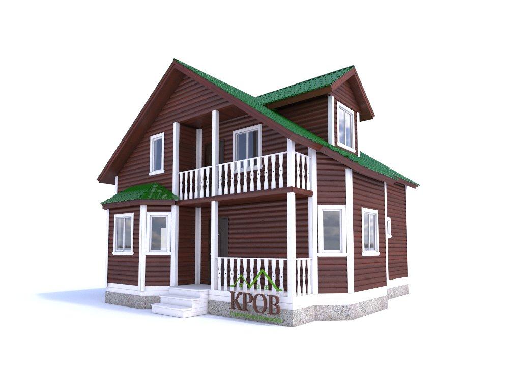 Дом из бруса 12,5х9 с двумя эркерами