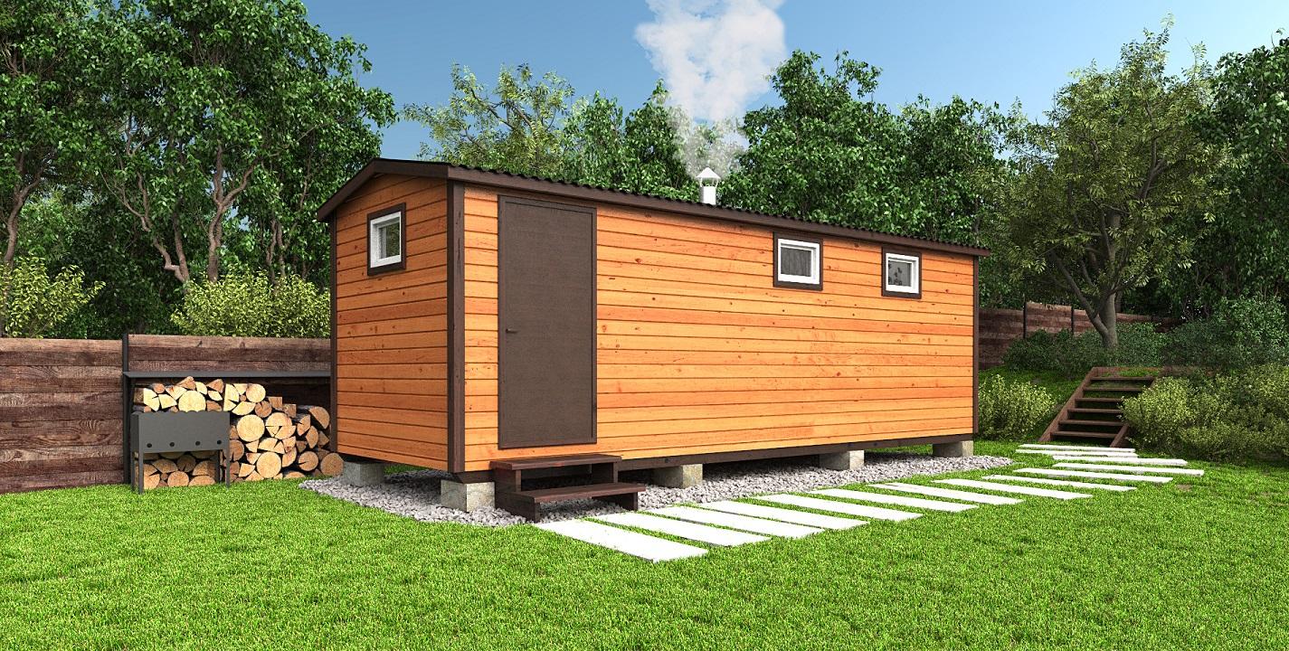 Готовая каркасная баня 7х2,3 метра с увеличенной комнатой отдыха