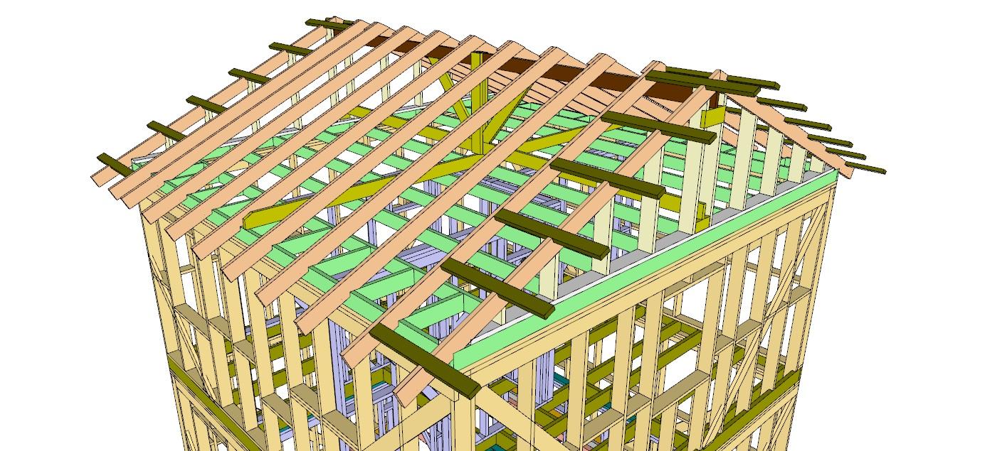 Общий вид стропильной системы из конструктивного проекта