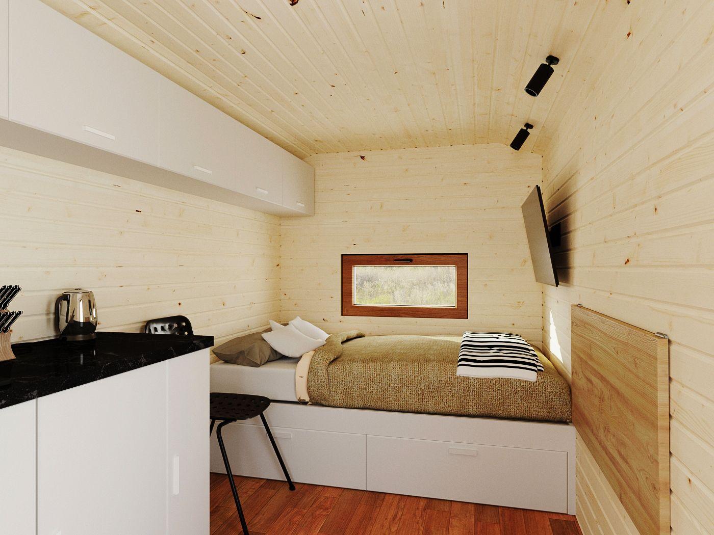 Вид спальни модульный дом 6х2