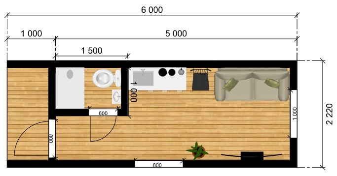 План модульного дома 6х2